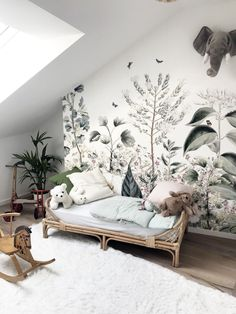 Today we are sharing 10 Stylish Nursery Wallpaper Ideas that just might convince to wallpaper your baby's nursery. Baby Room Decor, Living Room Decor, Bedroom Decor, Nature Bedroom, Kid Decor, Wall Murals Bedroom, Kids Wall Murals, Living Rooms, Decor Ideas