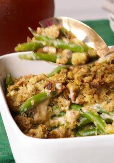 Cheesy Green Bean Casserole — The green bean casserole just upped the ante. You'll like this stuffing-and-cheese-studded version so much, you'll invent holidays as an excuse to make it.