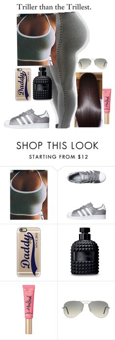 """""""TRILLER THAN TRILLEST"""" by curlss-wavyy-sexy on Polyvore featuring Victoria's Secret, WithChic, adidas Originals, Casetify, Valentino, Too Faced Cosmetics and Ray-Ban"""