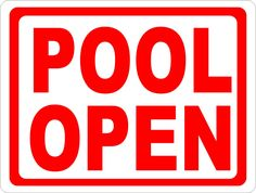 Post this sign to inform guests that the pool is open. Inform patrons of hours of pool operation. We Are Open Sign, Pool Rules, Storefront Signs, Pool Signs, Inside Outside, Round Corner, Drill, Rust, Industrial