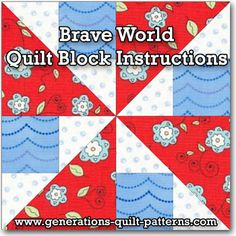 Brave World Quilt Block. Instructions included for 3 sizes. Free downloadable paper piecing pattern. One of many blocks in our Free Quilt Block Patterns Library.