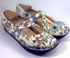 ALEGRIA Women's Shoes ~ Dayna White Sew Hope Style Mary Janes ~ Euro 40, US 10 M #Alegria #MaryJanes