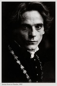 """Jeremy Irons as Hamlet, BBC """"All the World's a Stage"""", ©1982 Kent Miles,  """"He was a remarkably nice and unpretentious person."""""""