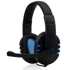 CSL - Headset KEM-613 USB compresa scheda audio esterna / Gamingheadset compresa scheda audio | Edition Gaming Plus (USB) | imbottitura per le orecchie in pelle artificiale / Mesh-Inlay | regolatore volume | nero/azzuro: Amazon.it: Informatica