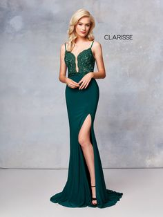ae16c567b38 3805 - Forest Green jersey prom dress with a lace top Best Evening Dresses