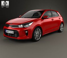 Kia Rio (K2) 5-door hatchback 2017 3d model from Hum3d.com.