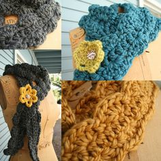 Blue Corduroy: new chunky soft crocheted scarves - no pattern