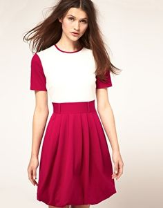 ASOS Skater Dress with Contrast Sleeve