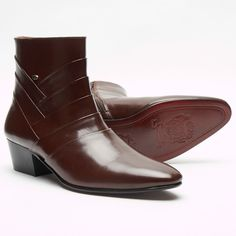 1ab8e4d7159 Mens formal lucini leather cuban heel ankle boots