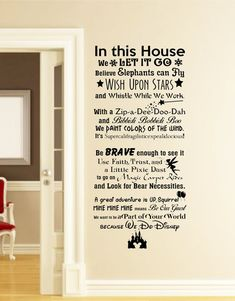 In this House We do Disney Wall Decal -Disney Wall Quotes-Wall Vinyl Decal-Wall…