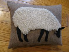 Primitive Wooly Grazing Sheep Pillow by Justplainfolk on Etsy