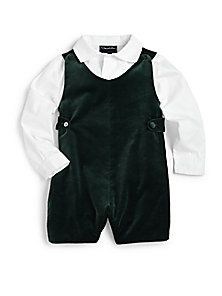 Oscar de la Renta - Cotton Shirt & Velvet Romper. Christmas card photo or Santa photo