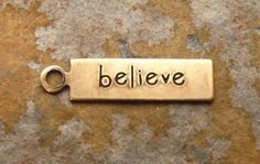 4 Antique Gold Patina BELIEVE Tags 5mm x by LindenAvenueDesigns
