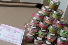 Another party favor idea.  Cupcakes in a jar!  (You know how I feel about cupcakes!!)