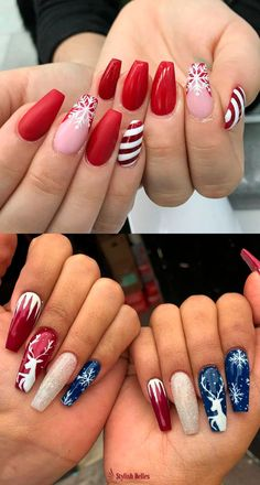 The Cutest and Festive Christmas Nail Designs for Celebration - Beautiful Red, Blue & Glitter Christmas Nails! Chistmas Nails, Xmas Nail Art, Cute Christmas Nails, Christmas Nail Art Designs, Holiday Nail Art, Xmas Nails, Red Nails, Christmas Acrylic Nails, Winter Christmas