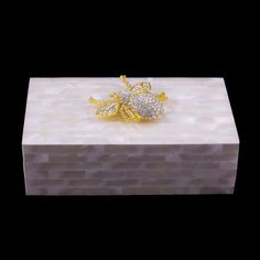 4f4bc82d0 Mother of Pearl Jewelry Box Featuring Swarovski © Crystals and Gold Bee / Isabella  Adams Designs