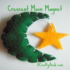 CraftyArab Crescent Moon Magnet Tutorial. These little magnets are so much fun to make and give out as gifts. We made a green felt moon with a yellow felt star, but it might be cool to make them in all kinds of different colours. I used white embroidery thread, because I wanted …
