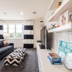Black and White Kid Friendly Living Room, Contemporary, Living Room