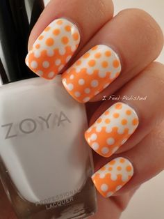 30 Amazing Dots Nail Art Ideas #Nails #NailArt orange & white reverse Polka dot nails www.finditforweddings.com  #NAILS - DIY NAIL ART DESIGNS