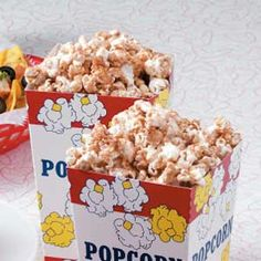 Cinnamon Popcorn - With a cinnamon-sugar coating, this recipe turns popcorn into a sweet treat that moviegoers are sure to reward with thumbs-up approval. Oven baking keeps the unique popcorn crisp.