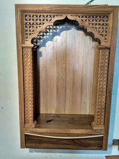 Wooden Temple For Home, Temple Design For Home, Home Temple, Living Room Designs, Living Room Decor, Bed Design, House Design, Mandir Design, Pooja Room Door Design