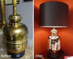 $8 brass lamp striped with Blue Magic $7.99 ( frm automative dept) and steel wool