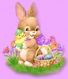 Baby bunny and chick at Easter by Penny Parker. Easter Art, Hoppy Easter, Easter Crafts, Easter Bunny, Easter Chick, Penny Parker, Bonnie Parker, Ostern Wallpaper, Easter Illustration