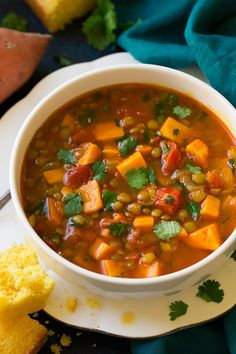 Moroccan Sweet Potato and Lentil Soup - Cooking Classy