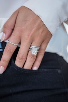 ROWAN 8 Carat Elongated Crushed Ice Radiant Moissanite Engagement Ring with Invisible Hal Radient Engagement Rings, Emerald Cut Engagement, Dream Engagement Rings, Engagement Ring Cuts, Vintage Engagement Rings, Solitaire Engagement, Solitaire Rings, Radiant Cut Engagement Rings, Moissanite Rings