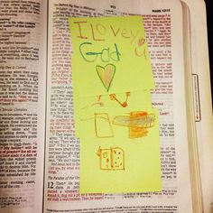Day 8 of #lampandlight with @kristinschmucker A small note in my Bible. I'm really wishing now I had put the date of this when I placed it in my Bible. My sweet daughter wrote this on a post it note. Even though I write and draw in my Bible, this one is so much more important.