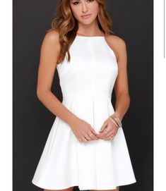 confirmation dresses Elegance at its height is newly named the Cameo Nightswim Ivory Dress! Satiny woven fabric lays across a halter neckline, topped by thin, rounded spaghetti st Semi Dresses, Hoco Dresses, Ivory Dresses, Homecoming Dresses, Cute Dresses, Dress Outfits, Casual Dresses, Dress Up, Summer Dresses