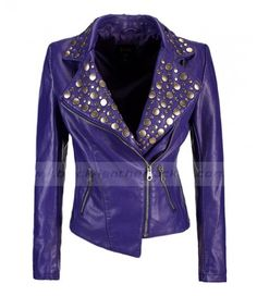 Motorcycle Rider Womens Purple Leather Jacket for sale at Discounted Price $249.00 Buy Online Ladies Rivet Studded Biker Jacket with free shipping Worldwide. #WomensStuddedLeatherJacket #WomensStudded #WomensWear #Fashion #ComicCon #BikeJacket #Halloween #Costumes #Cosplay #HalloweenCostumes #Outfit #PurpleLeatherJacket #LeatherJacket #Jacket