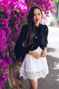 Dress: Sheinside , Jacket: Alice & Olivia , Bag: Chanel , Shoes: Christian Louboutin , Bracelet:  Uno De 5...