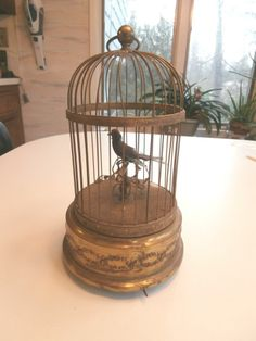 Antique Made in France Bird Automaton Music Box Metal Cage
