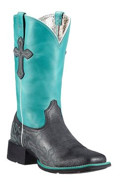Ariat® Crossroads™ Women's Anthracite Black with Blue Top & Crosses Double Welt Square Toe Cowboy Boots