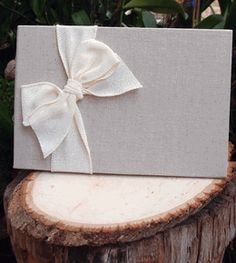 Linen Guest Book with White Burlap Bow Guest Book