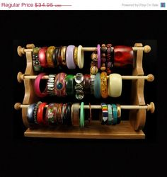 ON SALE 4 Wand Standing Bracelet Holder Bracelet Storage Bracelet Display Bracelet Organizer Oak Wood Bracelet Storage, Bracelet Organizer, Bracelet Holders, Bracelet Display, Jewelry Holder, Jewelry Box, Diy Bracelet, Funky Jewelry, Jewelry Ideas