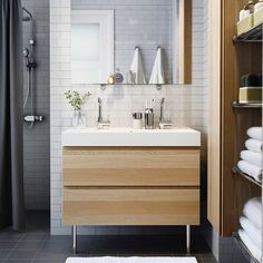 Brighten up your #bathroom! Light cabinets like this GODMORGON sink cabinet add a natural look in your space.
