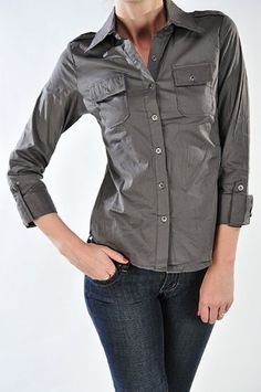 Women's cotton long sleeve buttoned shirt with pockets High Style. $14.99