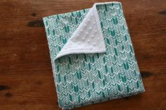 NEW Baby Blanket Teal Feathers and White Minky by antsyantelope