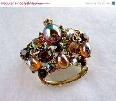 Lisner Crown Brooch  Vintage Bejeweled Signed by thejewelseeker, $19.25