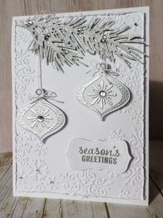 Christmas card made with @heroarts  Stamp and Cut Ornament, Impression Obsession Pine Branch die & Darice Snowflake Trim embossing folder.