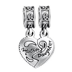 925 Sterling Silver Mother Love Daughter Heart Dangle Charms Bead for European Snake Chain Bracelets. Perfect fits Pandora sterling silver charms bracelet and bangle for women girls kids, compatible with Biagi, Troll and Chamilia European bracelets. Please kindly check the second picture about the size before purchasing. ANGEMIEL bracelet charms are genuine 925 Sterling Silver. 100% safe for sensitive skin. All of the enamel process and CZ diamond mosaics are done under a microscope by a...