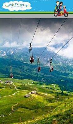 Zip lining in Grindenwald, Switzerland