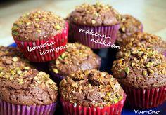 Suklaa-kookos-pistaasimuffinssit