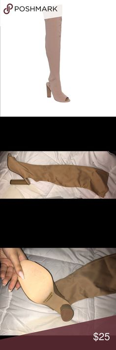 """Stacked Heel Peep Toe Thigh High Stretchy Boots BRAND NEW STILL IN BOX NEVER WORN Women's Boots;Summer Boots;Chunky Stacked Heel;Peep Toe;Over The Knee Boot;Elastic;Backless;Snug Fit & backless Lycra Manmade Manmade 0.25"""" Platform 5"""" Heel backless snug fit stiching details Shoes Over the Knee Boots"""
