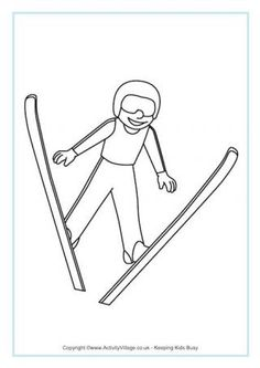 Ski Jumping Colouring Page Olympic Idea, Olympic Sports, Olympic Games, Sports Coloring Pages, Preschool Coloring Pages, Olympic Crafts, Kids Olympics, Freestyle Skiing, Pyeongchang 2018 Winter Olympics