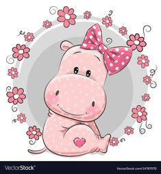 Greeting card cute Cartoon Hippo girl with flowers , - Gardening for beginners and gardening ideas tips kids Cartoon Hippo, Cute Cartoon Girl, Cute Cartoon Animals, Cartoon Pics, Baby Animals, Baby Hippo, Cute Hippo, Animal Drawings, Cute Drawings