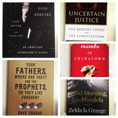 """#newreleasetuesday strikes again! This week features """"Uncertain Justice"""" by Laurence Tribe and Joshua Matz, """"Your Fathers, Where Are They? And the Prophets, Do They Live Forever?"""" by Dave Eggers, """"Good Hunting: An American Spy Story"""" by Jack Devine, """"Good Morning, Mr. Mandela"""" by Zelda la Grange, and """"Mambo in Chinatown"""" by Jean Kwok. So many great titles this week!"""