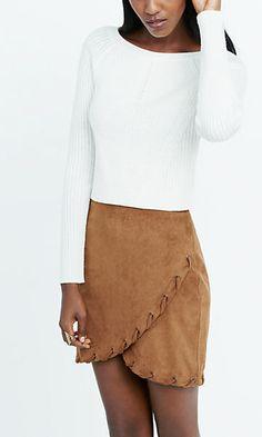 faux suede laced hem wrap skirt